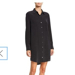 UEC Equipment Essential black silk shirt dress, XS